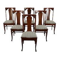 Set of 6 Oak Antique Craftsman Farmhouse Dining Chairs, New Seats, Sikes #36832