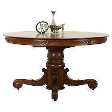 """Victorian Antique Round 54"""" Oak Pedestal Dining Table 5 Leaves Extend 98"""" #36840"""
