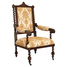 Italian Antique Carved Oak Armchair, Spiral Columns, New Upholstery #36903
