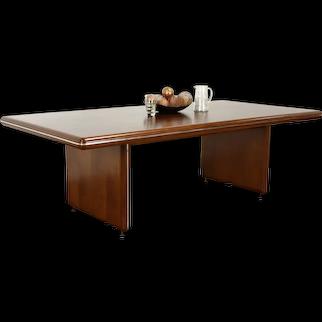Midcentury Modern Walnut & Burl Vintage Conference or Dining Table #36908
