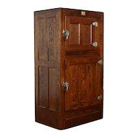 Oak Antique Farmhouse Ice Box Refrigerator, Tin & Enamel Interior, Seeger #37112