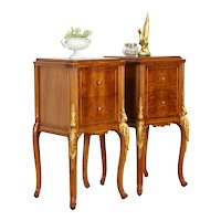 Pair of Satinwood Vintage French Design Nightstands or End Tables #37114