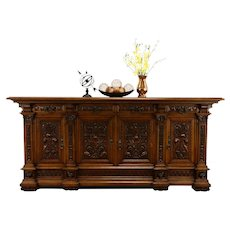 Renaissance Carved Italian Antique 8' Back Bar, Sideboard, TV Console #37143