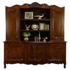 Provincial Country French Carved Walnut Farmhouse China Cabinet Sideboard #37267