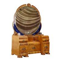 Art Deco Waterfall Vintage Vanity, Blue Beveled Mirrors Bakelite Hardware #37280