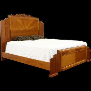 Art Deco Waterfall King Size Vintage Bed Zebrawood, Satinwood, Mahogany #37282