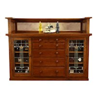Craftsman Oak Antique Farmhouse Sideboard China Cabinet, Stained Glass #37347
