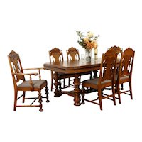 English Tudor Antique Carved Dining Set, Table, 6 Chairs New Upholstery #37359