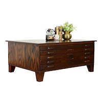 Oak Midcentury Modern 5 Drawer File, Collector or  Map Chest Coffee Table #37378