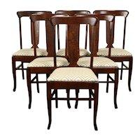 Set 6 Antique Farmhouse Craftsman Mission Oak Arts & Crafts Dining Chairs #37402
