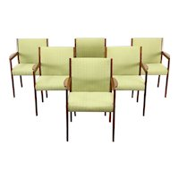 Set of 6 Teak Midcentury Modern Dining or Office Chairs, New Upholstery #37411