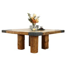 Farmhouse Rustic Reclaimed Pine Architectural Salvage Timber Dining Table #37465