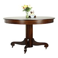 """Victorian Antique 48"""" Round Oak Dining Table, 2 Leaves #37478"""