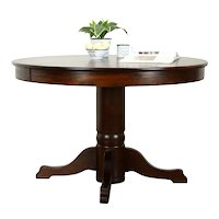 "Victorian Quarter Sawn Oak  Antique Farmhouse 45"" Dining Table, 2 Leaves #37480"