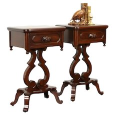 Pair of Victorian Style Vintage Mahogany Side or Lamp Tables, Nightstands #37508