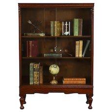 English Tudor Antique Oak Office Bookcase, Sliding Glass Doors, Macey #37533