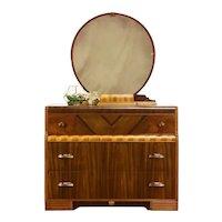 Art Deco Vintage Waterfall Dresser or Chest & Mirror, Original Bakelite #37550
