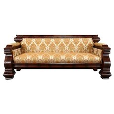 Empire Antique 1840 Sofa, Flame Mahogany, New Upholstery #37600