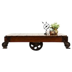 Industrial Salvage Antique Oak & Iron Railroad Cart, Coffee Table #37637
