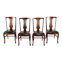 Set of 4 Carved Quarter Sawn Oak Antique Dining Chairs, Leather Seats #37656