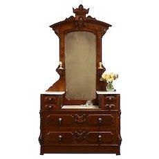 Victorian Renaissance Antique Walnut Marble Top Chest or Dresser & Mirror #37667