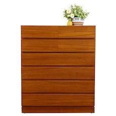 Midcentury Modern Danish Teak 10 Drawer Tall Chest or  Dresser, VM #37682