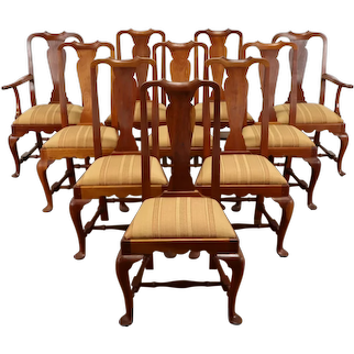 Set of 10 Cherry Vintage Dining Chairs, Ford Greenfield Village, Bartley #37685