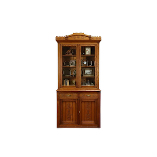 Victorian Eastlake Antique Chestnut China or Office Cabinet, Bookcase #37731