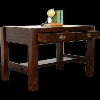 Mission Oak Arts & Crafts Antique Craftsman Library Table Desk Dewitt #37750