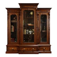 Victorian Antique Triple Office or Library Bookcase Carved Walnut & Burl #37804