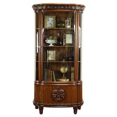 German Antique Carved Oak Curved Glass China Display or Curio Cabinet #37806