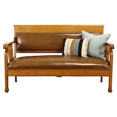 Victorian Antique Oak Railroad Bench or Hall Settee, New Leather #37825