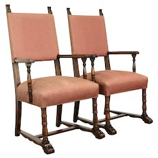 Pair of Scandinavian Antique Carved Armchairs, Recent Upholstery #37905