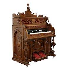 Victorian Renaissance Antique Walnut Rebuilt Reed Pump Organ, New England #37931