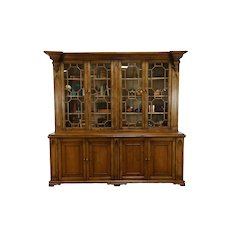 Farmhouse Antique Pine Breakfront China Cabinet, Back Bar, Bookcase #37953