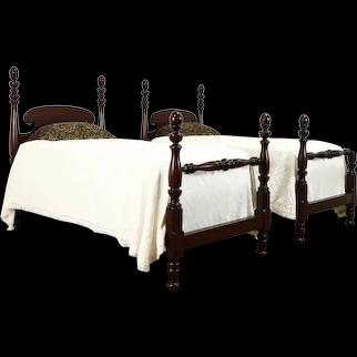 Pair of Antique Mahogany Georgian Twin Poster Beds, Berkey & Gay #37971