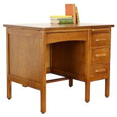 Midcentury Modern Oak 1940's Vintage Office or Library Desk #38004