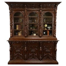 Black Forest Antique Carved Oak Office or Library Bookcase, China Cabinet #38024