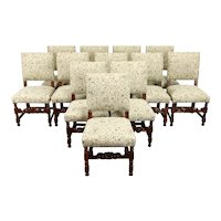 Set of 12 Antique Oak Dining Chairs, Carved Faces, New Upholstery  #38059