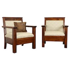 Pair of Mission Arts & Crafts Antique Throne Hall Chairs, New Upholstery #38177