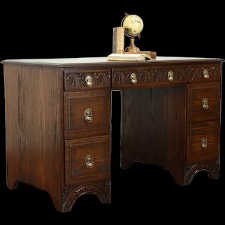 English Tudor Style Carved Oak Vintage Office Desk, Feudal Oak Jamestown #38236
