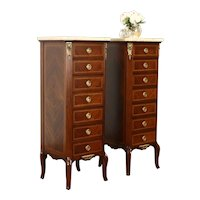 Pair of French Vintage Marble Top Rosewood Semainier or Lingerie Chests #38249