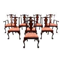 Set of 8 Georgian Chippendale Design Vintage Dining Chairs, Henkel Harris #38278