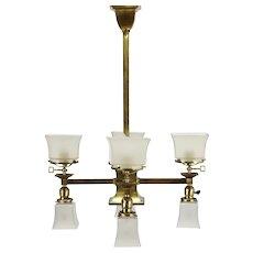 Craftsman Antique Brass 8 Light Fixture Gas & Electric Chandelier #38351