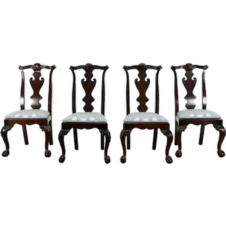 Set of 4 Vintage Georgian Design Dining or Game Table Chairs, Century #38353