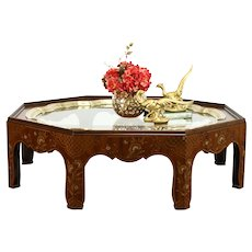 Walnut Octagon Antique Coffee Table, Glass Top Brass Edge, Painted, Baker #38387
