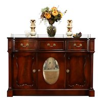 Traditional Antique Leather Top Sideboard, Server, Buffet, Convex Mirror #38392