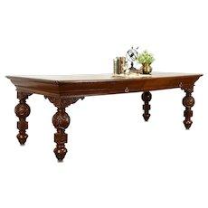 Renaissance Oak 1900 Antique Desk, Dining, Library or Conference Table 8' #38403