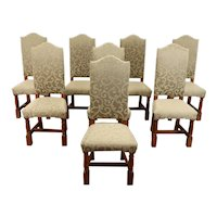 Set of 8 Solid Oak Vintage Dining Chairs, Newly Upholstered #38404
