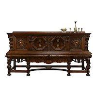Oak Antique Renaissance Credenza, Sideboard Server, Buffet, Secret Drawer #38406